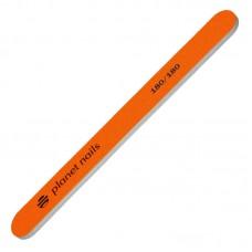 Planet Nails Пилка для ногтей стандартная, 180/180, неоново-оранжевая